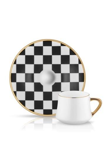 Koleksiyon Sufi Damalı Siyah-Beyaz 6 Kş. Türk Kahvesi Fincanı Siyah